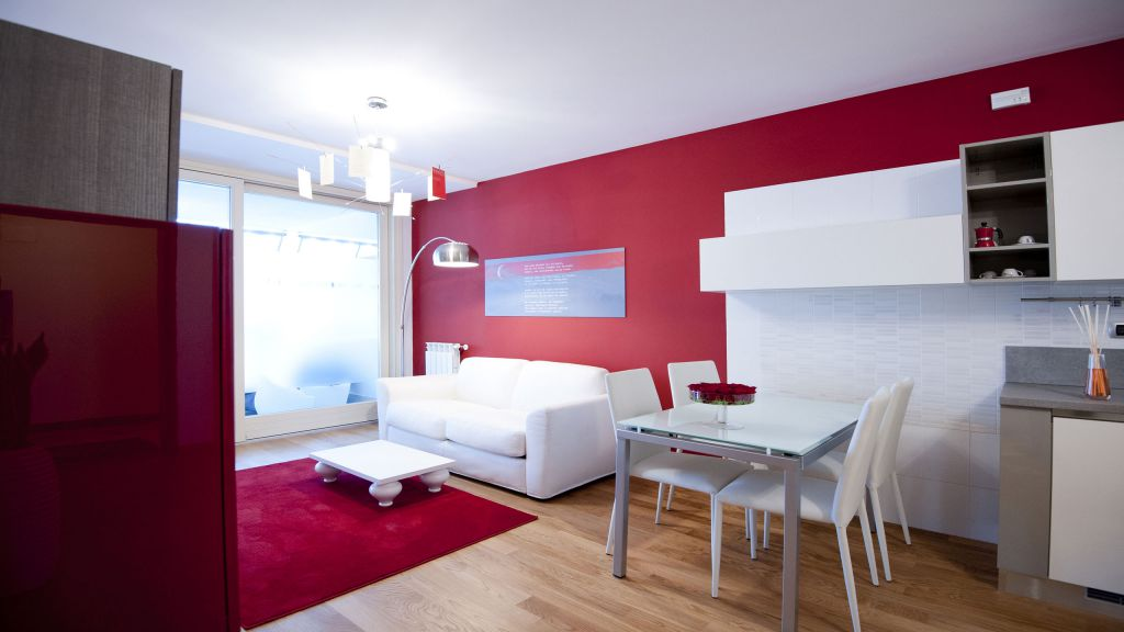 myapartsuite-rome-trastevere-red-apartment-living-room